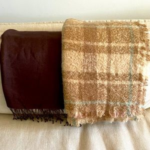 EUC Ralph Lauren scarf & dark brown pashmina wrap